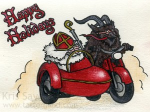 Happy Holidays Card, Inspired by Vintage Krampus Card