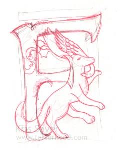 Medieval Animal Alphabet - Fox Sketch